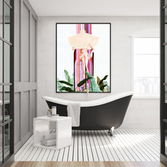 Fashion pink and green poster print by Sophia Novosel, with a naked woman with large hat and leaves, bathroom view