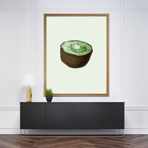 Kitchen wall art with a watercolour kiwi, on a light green background