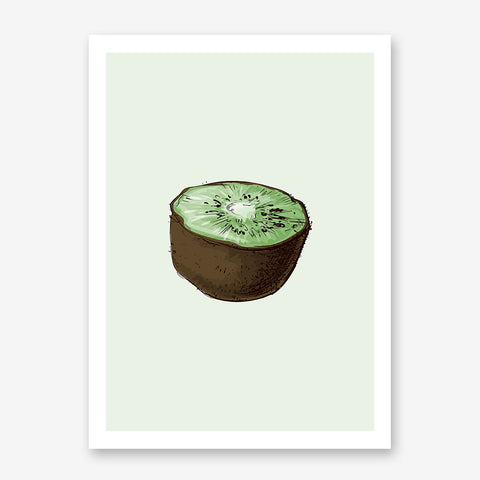 Kitchen poster print with a watercolour kiwi, on a light green background