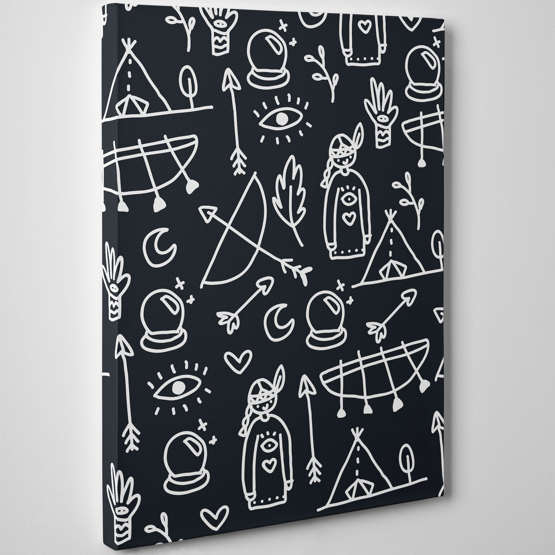 Kids canvas print with black and white Indians pattern - side view