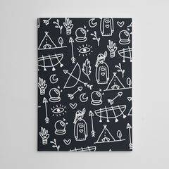 Kids canvas print with black and white Indians pattern.