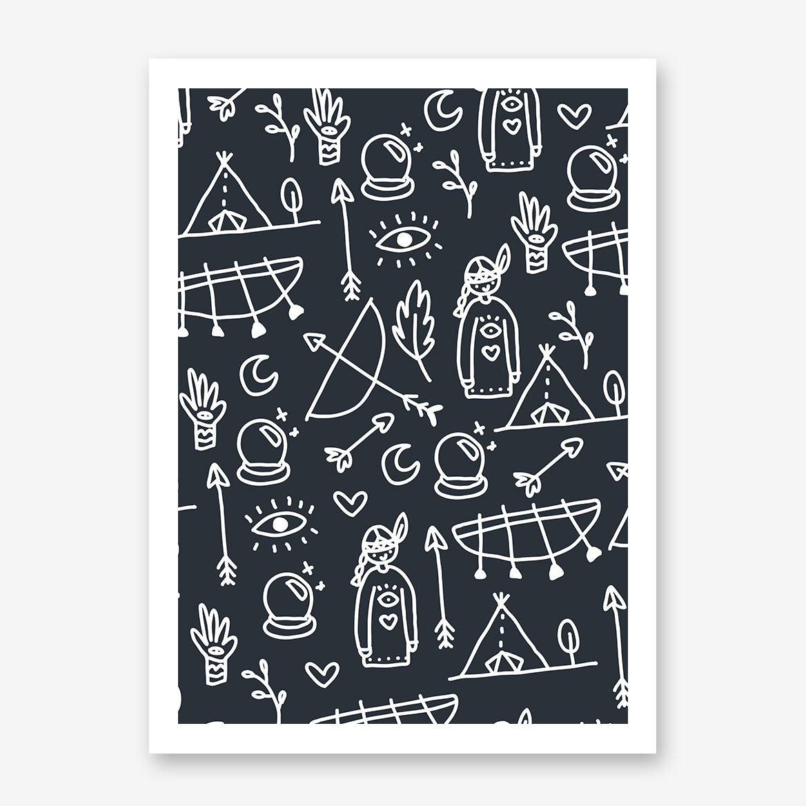 Kids poster print with black and white Indians pattern