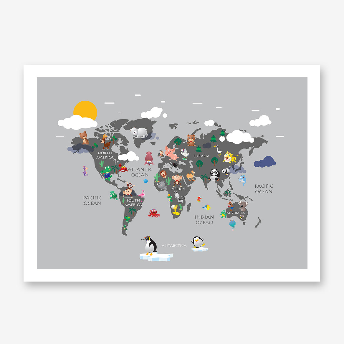 Kids world map poster print with colourful animals, on grey background.