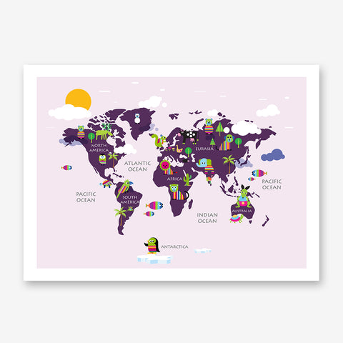 Kids world map poster print with rainbow coloured animals, on pink background.
