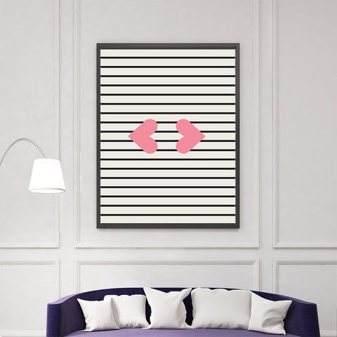 Illustration print by Linda Gobeta, with pink heart lips, on black and grey lines background, living room view