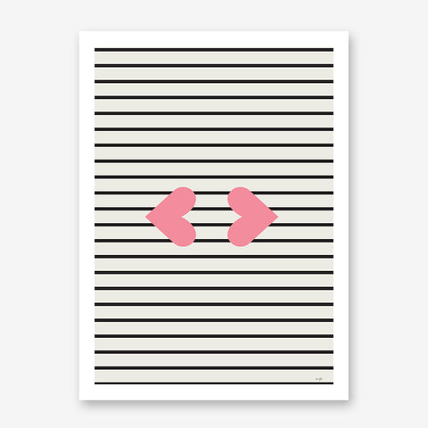 Illustration print by Linda Gobeta, with pink heart lips, on black and grey lines background