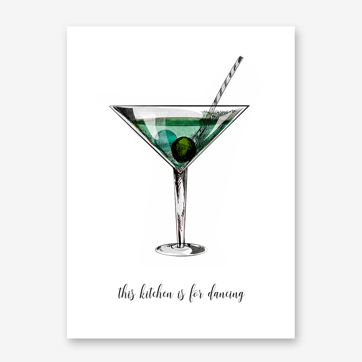 Kitchen poster print by Kubistika, with a green drink glass and quote 'this kitchen is for dancing', on white background.