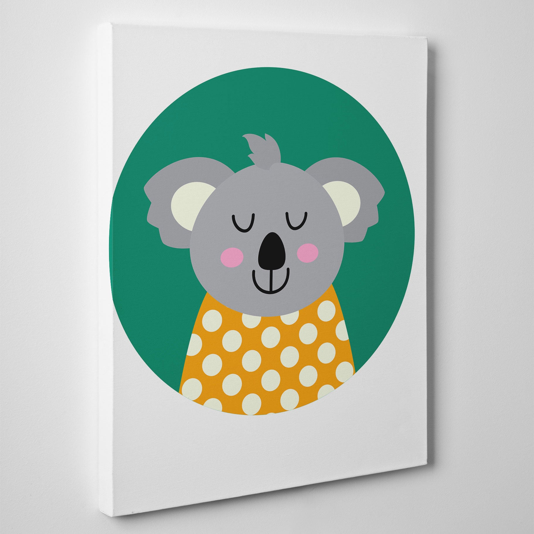 Nursery canvas print with a smiley koala bear in a green circle side view