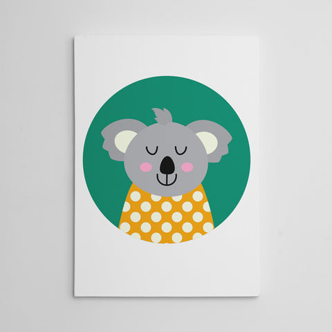 Nursery canvas print with a smiley koala bear in a green circle.