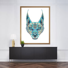 Patterned wall art decor with a coloured lynx's head on white background