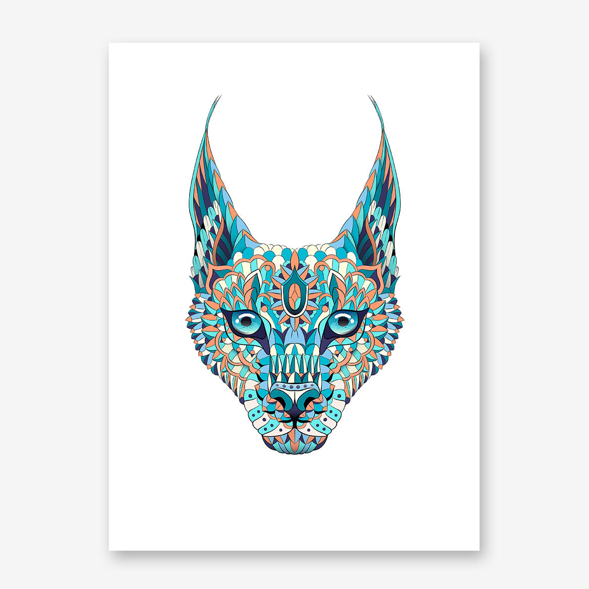 Patterned poster print with a coloured lynx's head on white background