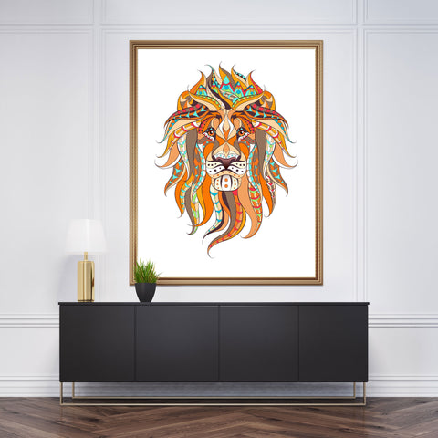 Patterned wall art decor with a lion's head on white background