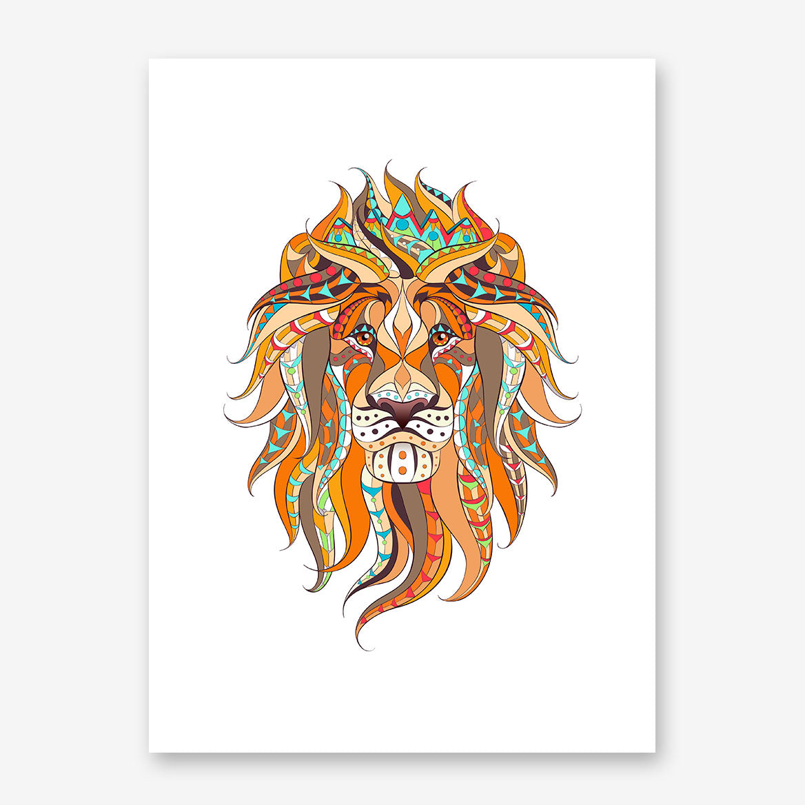 Patterned poster print with a lion's head on white background