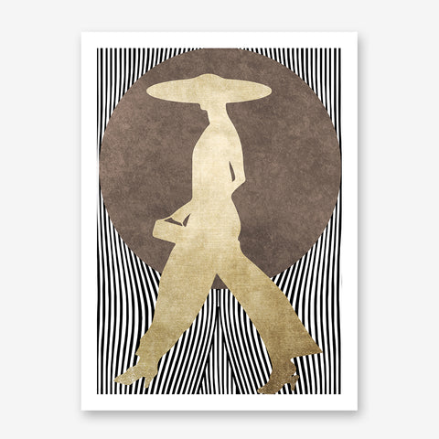 Abstract poster print by Kubistika, with gold woman and brown sun, on black and white lines background.