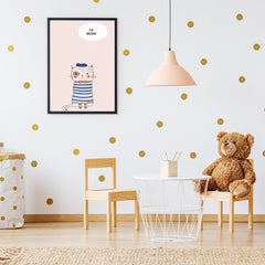 Nursery poster print by Kubistika, with a cat, on pink background; in nursery room