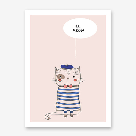 Nursery poster print by Kubistika, with a cat, on pink background.
