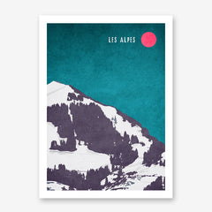 Illustration poster print with snowy mountain, pink sun and text 'Les Alpes', on teal background