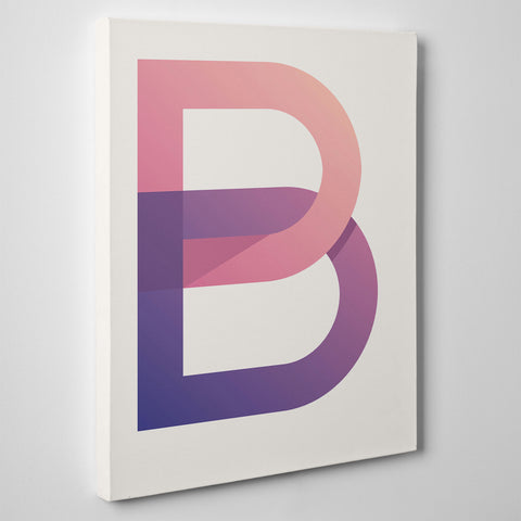 Canvas print with modern initial letter B, on white background - side view