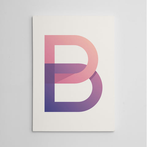 Canvas print with modern initial letter B, on white background
