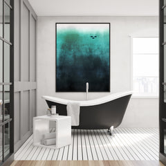 Illustration poster print by Kubistika, with black fishes, on blue background; in bathroom