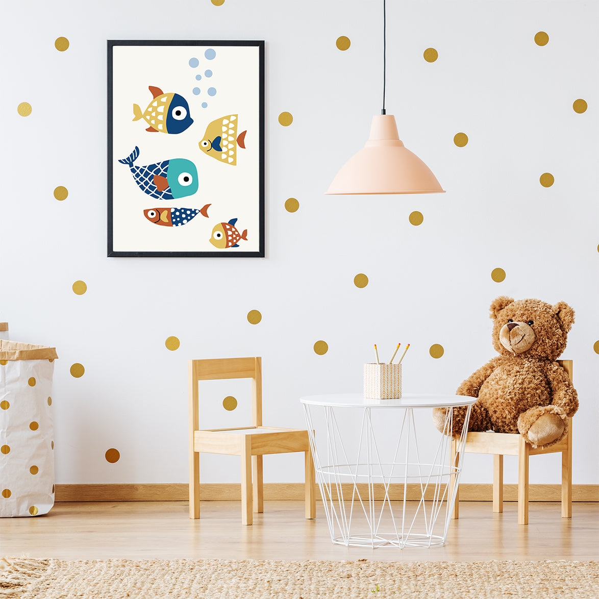 Nursery poster print by Kubistika, with colourful fishes, on light grey background; in kids' room
