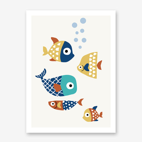 Nursery poster print by Kubistika, with colourful fishes, on light grey background.