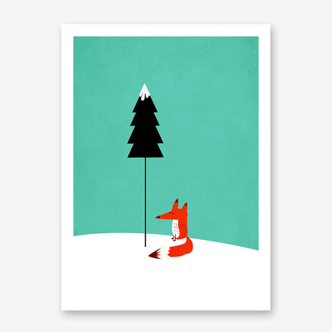 Nursery poster print by Kubistika, with a red fox, on mint and white background