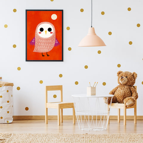 Nursery poster print by Kubistika, with cute owl and moon, on red background; in nursery room