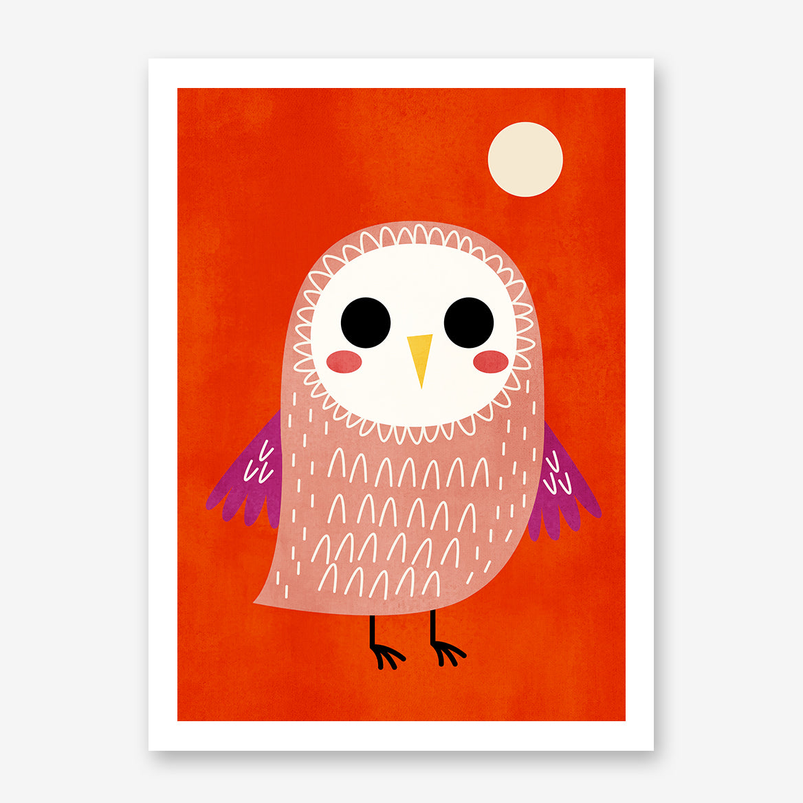 Nursery poster print by Kubistika, with cute owl and moon, on red background.