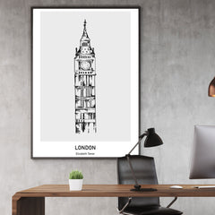 Doodle inspired poster print with drawing and text - London, Elizabeth Tower, wall view