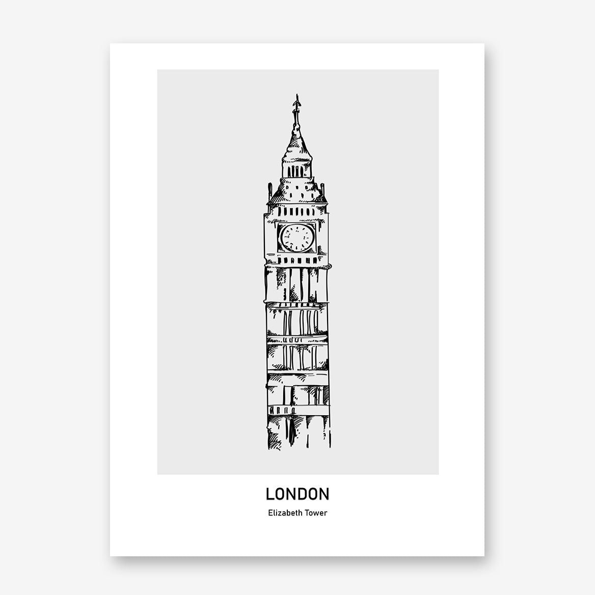 Doodle inspired poster print with drawing and text - London, Elizabeth Tower.