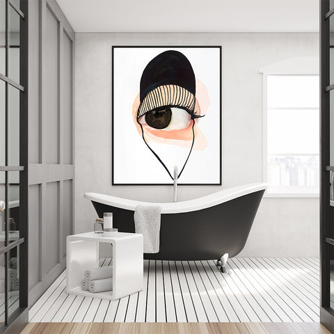 Minimalist poster print by Sophia Novosel, with a watercolour brown and black design eye, bathroom view