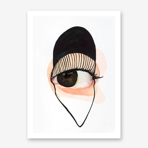 Minimalist poster print by Sophia Novosel, with a watercolour brown and black design eye