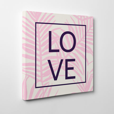 "Illustration canvas print with pink leaves and the word ""LOVE"" in black - side view"