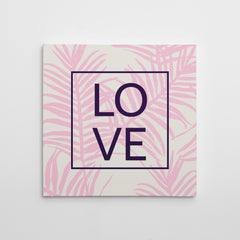 "Illustration canvas print with pink leaves and the word ""LOVE"" in black."