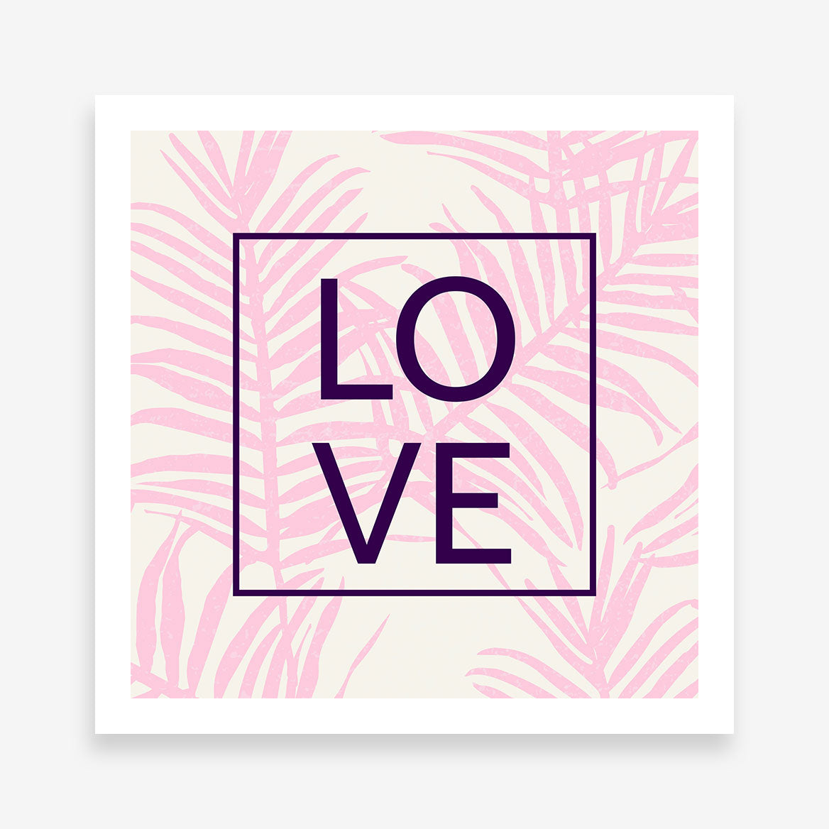 "Illustration poster print with pink leaves and the word ""LOVE"" in black"