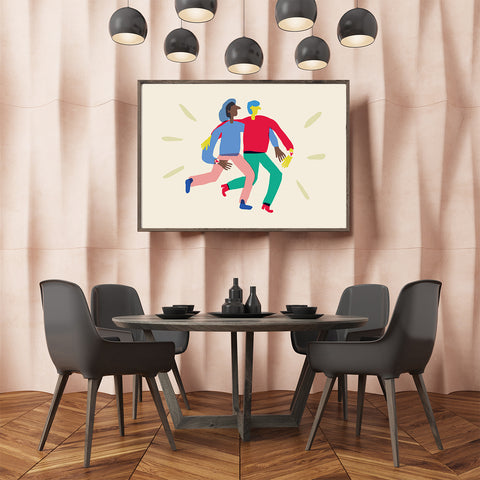 Love illustration print by Judy Kaufmann, with a couple, on beige background, in dining room