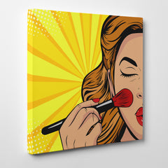 Square pop art canvas print with a girl doing her makeup, on a yellow background - side view