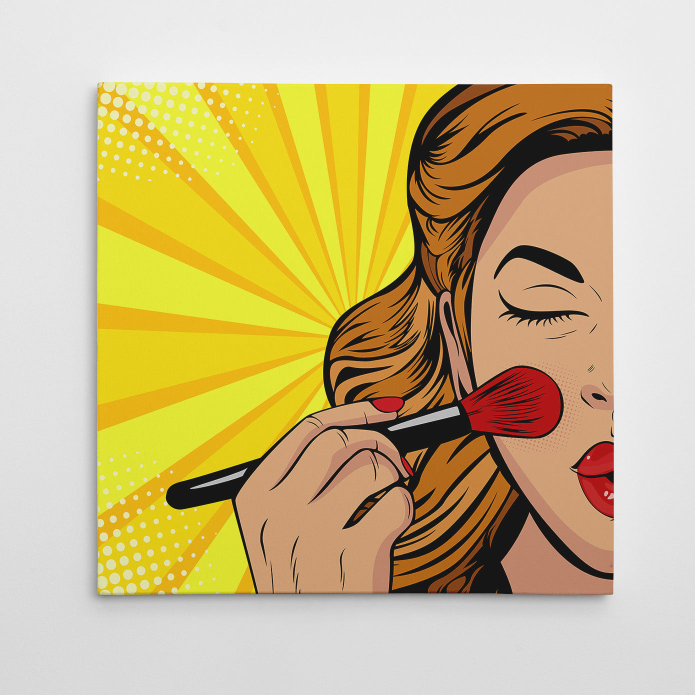 Square pop art canvas print with a girl doing her makeup, on a yellow background
