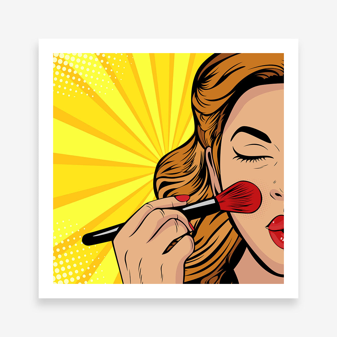 Pop art poster print with a girl doing her makeup, on a yellow background.