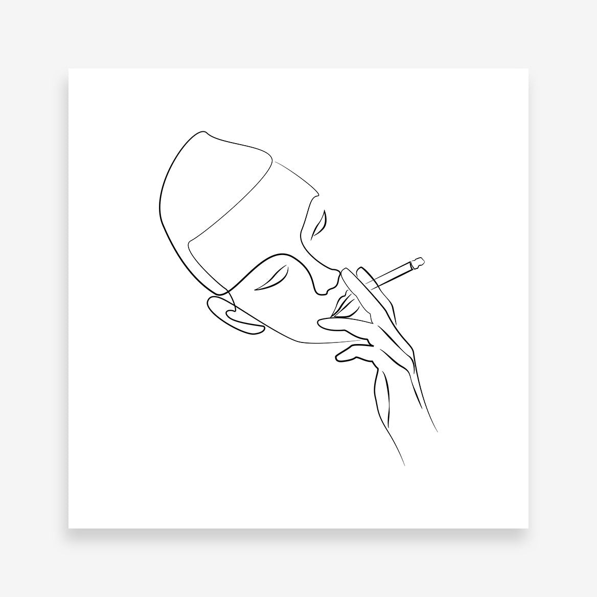 Line art poster print with a cigarette smoking man.
