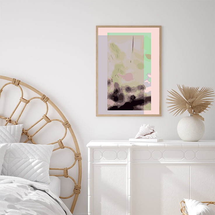 Digital art print by Henry Hu with green, pink and purple backgrounds, in bedroom