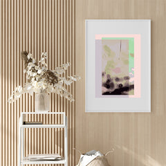 Digital art print by Henry Hu with green, pink and purple backgrounds, on hallway