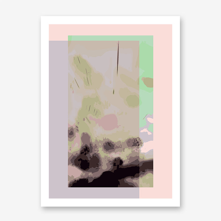 Digital art print by Henry Hu with green, pink and purple backgrounds.