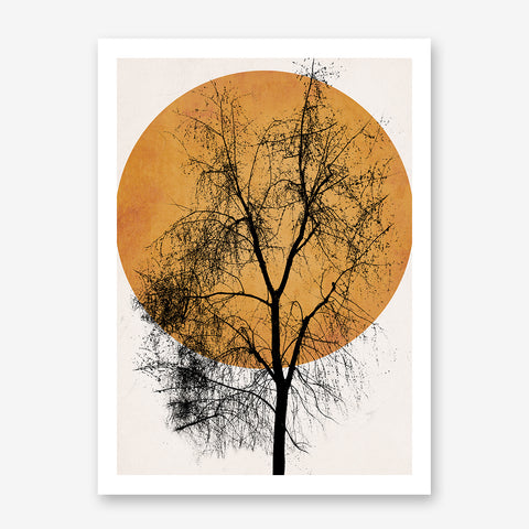Poster print by Kubistika, with pale orange sun and large black tree, on grey background.