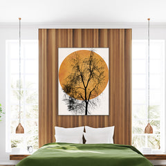 Poster print by Kubistika, with pale orange sun and large black tree, on grey background, in bedroom