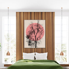 Poster print by Kubistika, with pink sun and large black tree, on beige background; in bedroom
