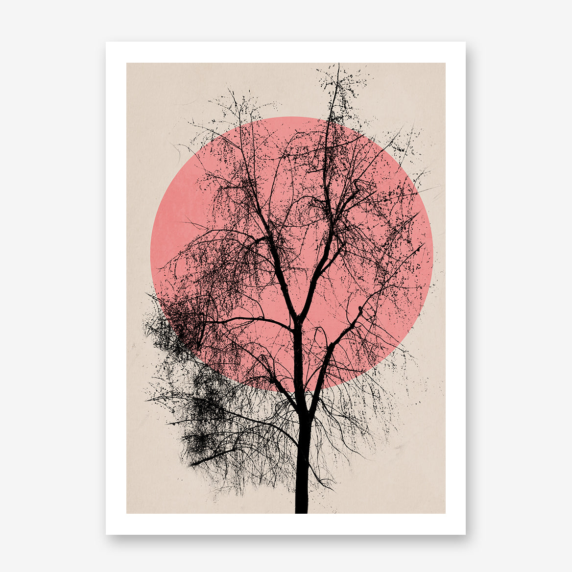 Poster print by Kubistika, with pink sun and large black tree, on beige background.