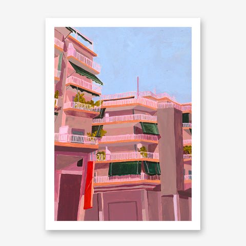 Poster print of an originally painted art by Sophis Novosel, with pink buildings