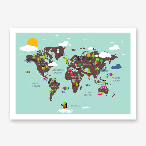 Kids world map poster print with rainbow coloured animals, on mint background
